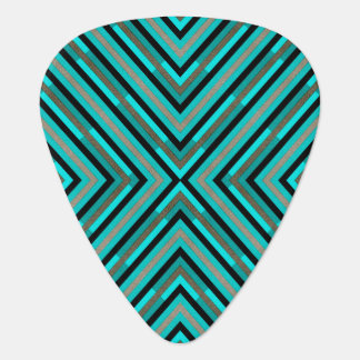 Modern Diagonal Checkered Shades of Green Pattern Plectrum