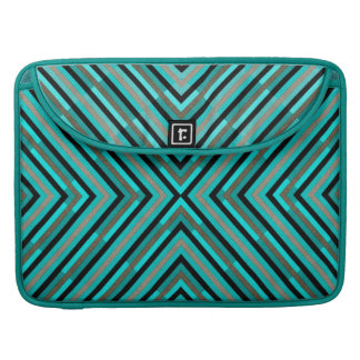 Modern Diagonal Checkered Shades of Green Pattern Sleeves For MacBooks