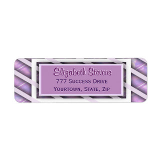 Modern Diagonal Striped Pattern Return Address Label