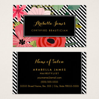 Modern Diagonal Stripes Elegant Floral Beautician Business Card