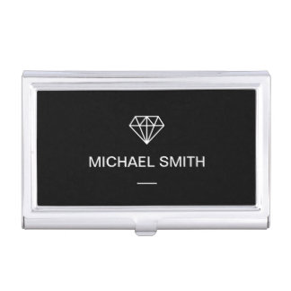 Modern Diamond Logo Simple Black and White Case For Business Cards