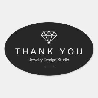 Modern Diamond Logo Simple Black White Thank You Oval Sticker