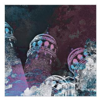 Modern digital graphic art pink towers design