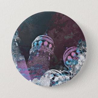 Modern digital graphic art pink towers design 7.5 cm round badge