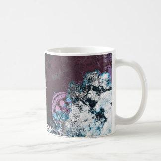 Modern digital graphic art pink towers design coffee mug