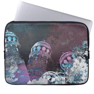 Modern digital graphic art pink towers design laptop sleeve