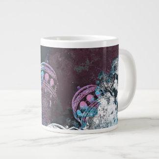 Modern digital graphic art pink towers design large coffee mug