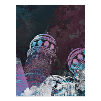 Modern digital graphic art pink towers design poster