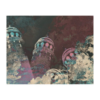 Modern digital graphic art pink towers design wood prints