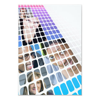 Modern Diversity People and Faces Collage 9 Cm X 13 Cm Invitation Card