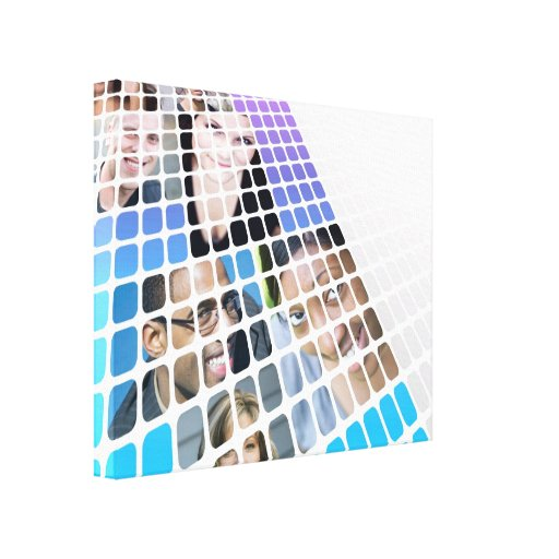 Modern Diversity People and Faces Collage Gallery Wrap Canvas