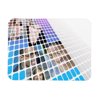 Modern Diversity People and Faces Collage Rectangular Photo Magnet