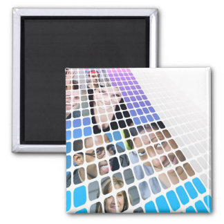 Modern Diversity People and Faces Collage Square Magnet