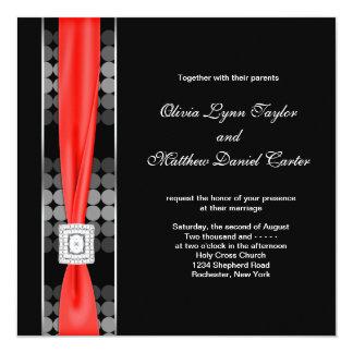 "Modern Dot Black White Red Black Wedding 5.25"" Square Invitation Card"
