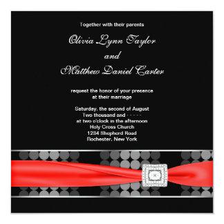 "Modern Dot Black White Red Classy Black Wedding 5.25"" Square Invitation Card"
