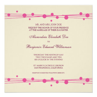 Modern Dots Straw Wedding Invitation 2 fuschia