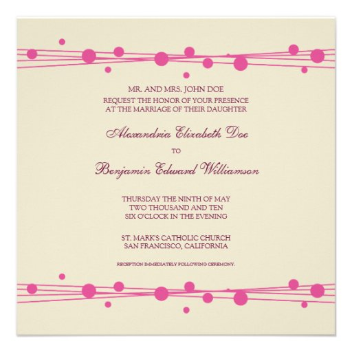 Modern Dots & Straw Wedding Invitation 2 (fuschia)
