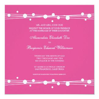Modern Dots & Straw Wedding Invitation (fuschia)