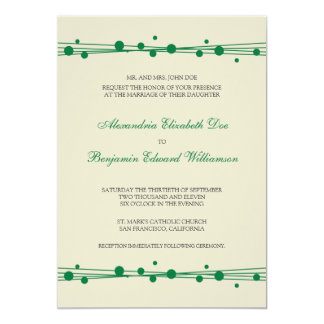 Modern Dots & Straw Wedding Invitation (green)