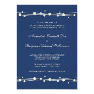Modern Dots & Straw Wedding Invitation (navy)