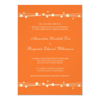 Modern Dots & Straw Wedding Invitation (orange)