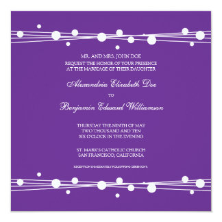Modern Dots & Straw Wedding Invitation (purple)