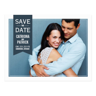 Modern Double Frame Photo Save the Date Postcard