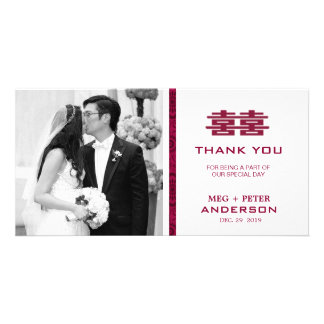 Modern Double Happiness Chinese Wedding Thank You Photo Cards