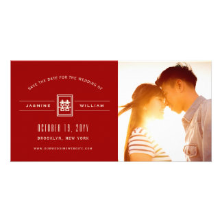 Modern Double Happiness Save The Date Photo Card