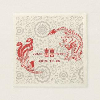 Modern Dragon-Phoenix Personalized Chinese Wedding Disposable Napkin