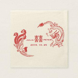Modern Dragon-Phoenix Personalized Chinese Wedding Disposable Serviette