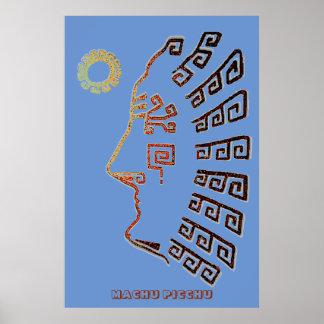 Modern Drawing of Machu Picchu Poster