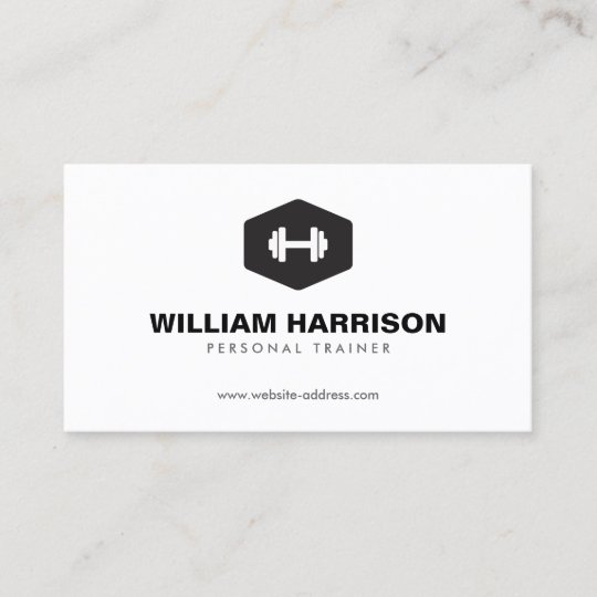 Modern Dumbbell Logo For Personal Trainer Fitness Business Card