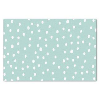 Modern dusty blue white handdrawn polka dots tissue paper