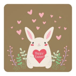 """Modern Easter Bunny & Hearts Custom 5.25"""" x 5.25"""" Card"""