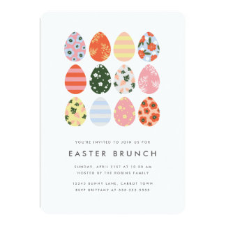 Modern Easter Eggs 13 Cm X 18 Cm Invitation Card
