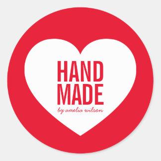 Modern Editable Background Color Handmade Heart Classic Round Sticker