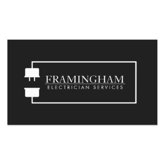 Modern Electrician Extension Cord Logo Black Pack Of Standard Business Cards