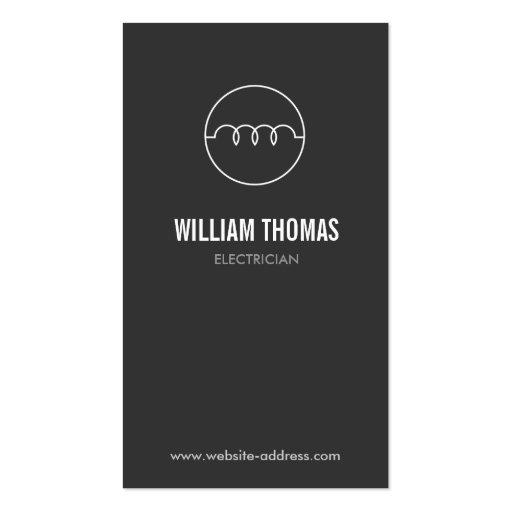 MODERN ELECTRICIAN LOGO on DK GRAY Business Card Template