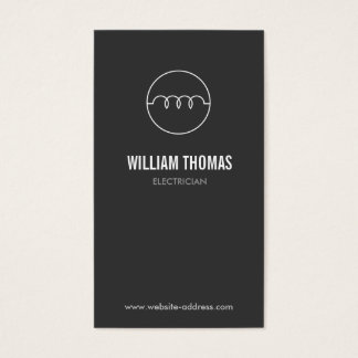 MODERN ELECTRICIAN LOGO on DK GRAY Business Card