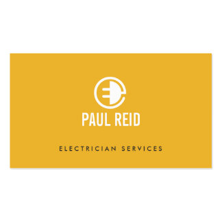 Modern Electrician Logo Yellow Pack Of Standard Business Cards