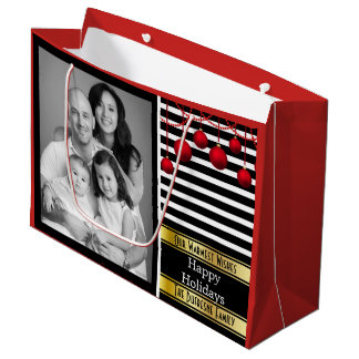 Modern Elegance Christmas w/Photo Large Gift Bag