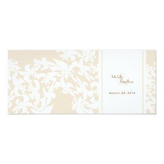 Modern Elegance Ecru Fleur de Lis Wedding 10 Cm X 24 Cm Invitation Card