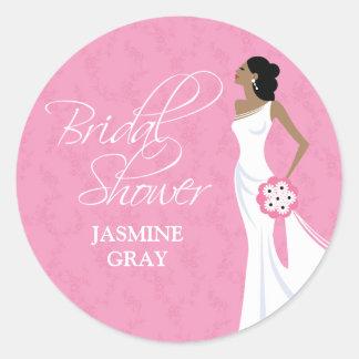 Modern Elegance Pink Bridal Shower Classic Round Sticker