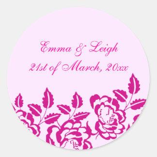 Modern Elegance Pink Rose Envelope Sticker