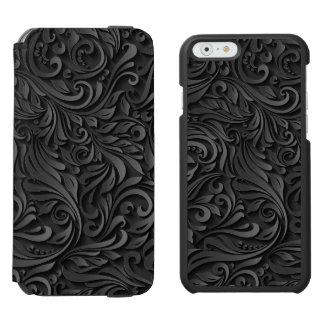Modern Elegant Abstract Black Floral Background Incipio Watson™ iPhone 6 Wallet Case