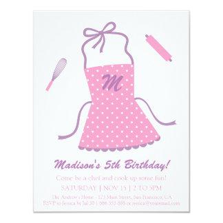 Modern Elegant Apron Cooking Baking Birthday Party Card