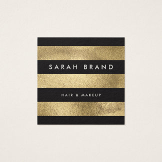 Modern Elegant Black and Faux Gold Foil Stripes Square Business Card