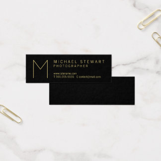 Modern Elegant Black and Gold Monogram Mini Business Card