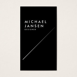 Modern Elegant Black and White Faux Silver Line Business Card